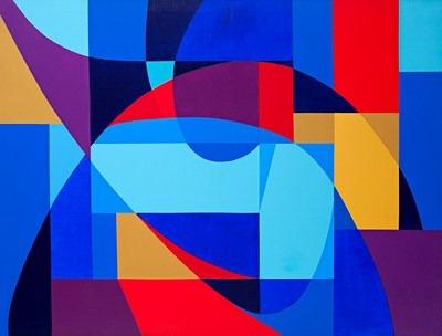 Abstracción rojo y azul - acrílico s/tela - 116 x 90 cm - 2003