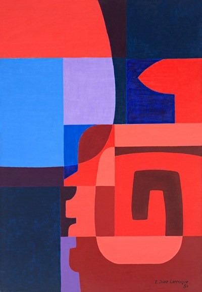 Luna y serpiente emplumada - acrilico sobre tela - 81 x 116 cm - 1981