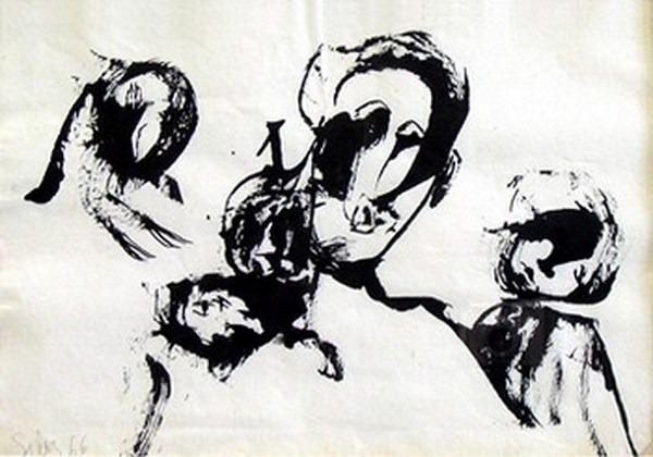 Silva Julio - A la tache - tinta sobre papel - 67cm x 52cm - 1966