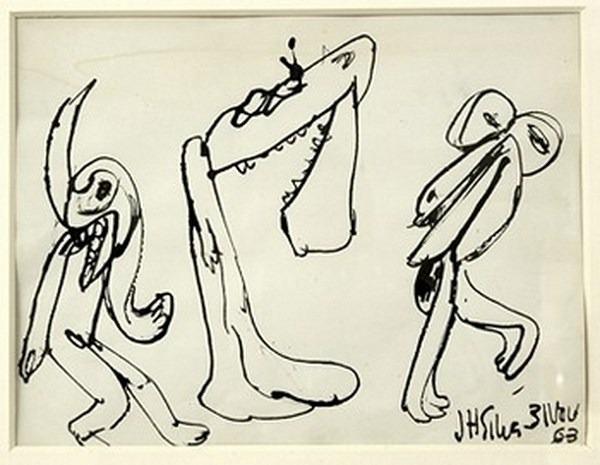Silva Julio - A machoire decroche - pluma de oca - 24cm x 31cm - 1963