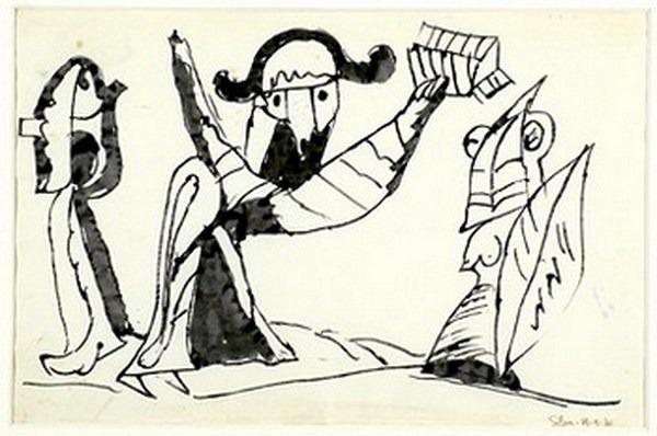 Silva Julio - A vosotros la libertad - tinta sobre papel - 67cm x 52cm - 1966