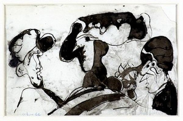 Silva Julio - Au bonher des dames - tinta sobre papel - 67cm x 52cm - 1966