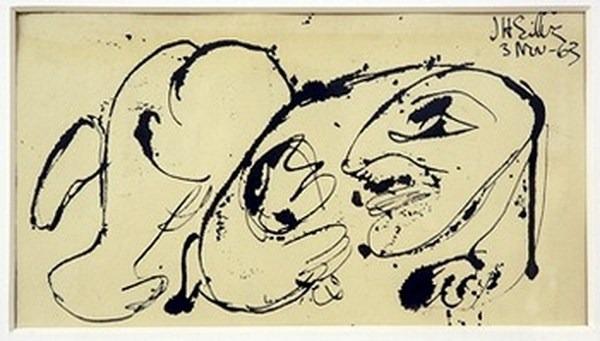 Silva Julio - Avec son rejeton - pluma de oca - 31cm x 18cm - 1963