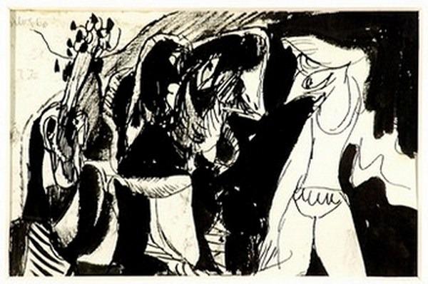 Silva Julio - Boujours dans la roulotte - tinta sobre papel - 67cm x 52cm - 1966