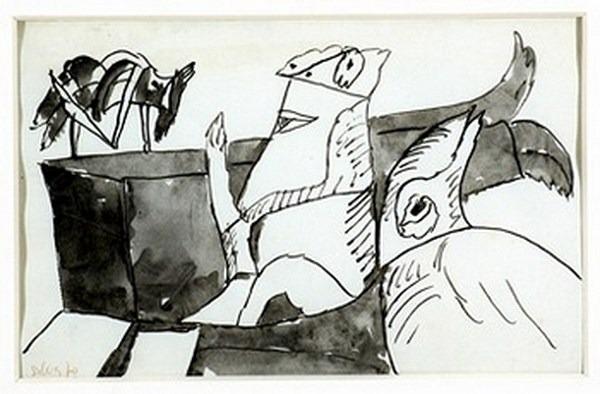 Silva Julio - Caseur - tinta sobre papel - 67cm x 52cm - 1970