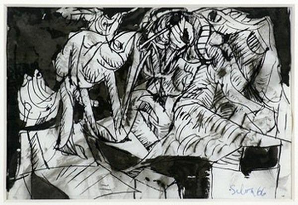 Silva Julio - Combatiendo la medida - pluma de oca + levis + papel anciano - 28cm x 19cm - 1966
