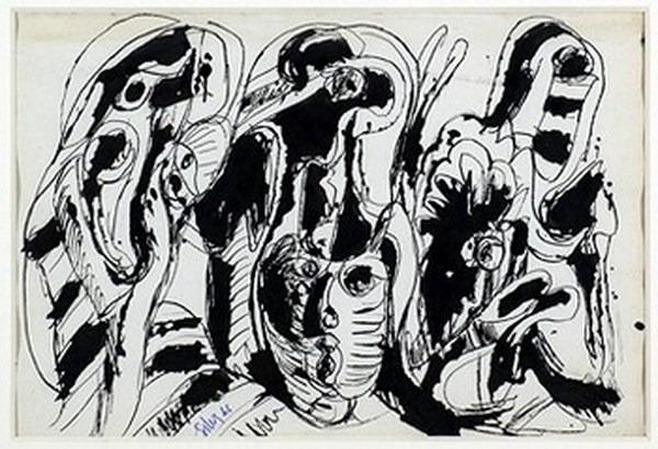 Silva Julio - Con el apoyo del Negro- pluma de oca + papel anciano - 34cm x 23cm - 1966