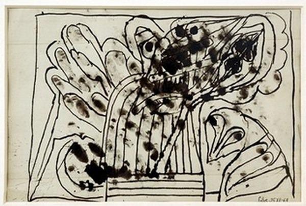 Silva Julio - Con los dedos - pluma de oca + tinta cepia - 33cm x 25cm - 1969