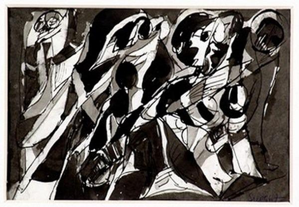 Silva Julio - Desciframe - tinta sobre papel - 67cm x 52cm - 1967