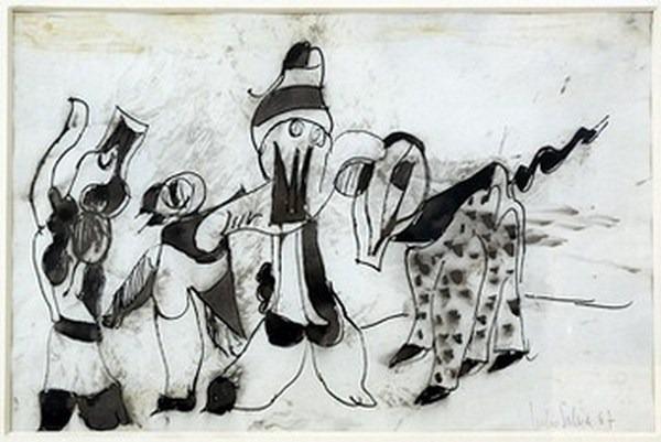 Silva Julio - Dresser pour plaire- pluma de oca + levis + papel anciano - 25cm x 38cm - 1967