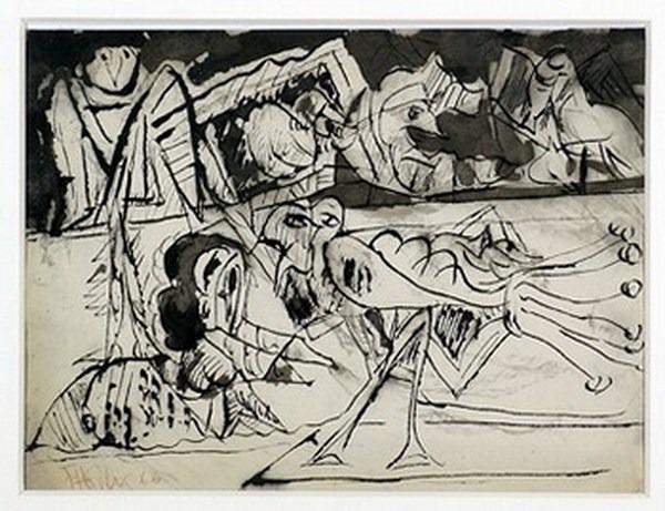 Silva Julio - El ganso - pluma de oca + levis + papel anciano - 30cm x 23cm - 1966