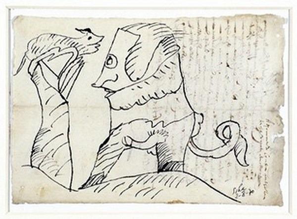 Silva Julio - En el camino de Delphe - tinta sobre papel - 67cm x 52cm - 1970