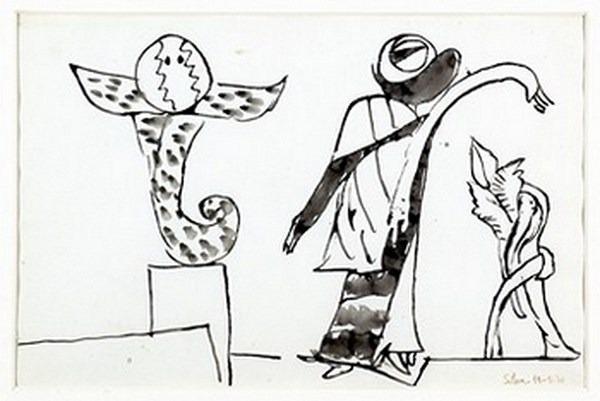 Silva Julio - Espantapajaros - tinta sobre papel - 67cm x 52cm - 1970
