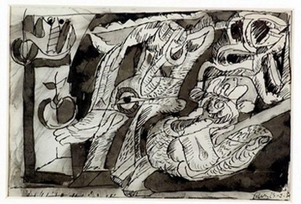 Silva Julio - Frutas y legumbres- tinta sobre papel - 67cm x 52cm - 1970