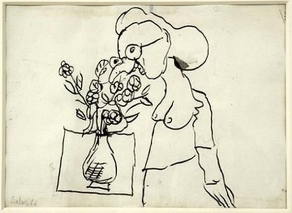 Silva Julio - Hierbas aromaticas - pluma de oca + papel anciano - 24cm x 31cm - 1966
