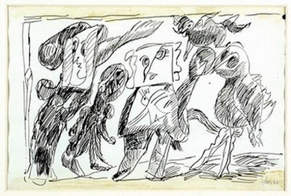 Silva Julio - La insignia del colibrí - tinta sobre papel - 67cm x 52cm - 1966