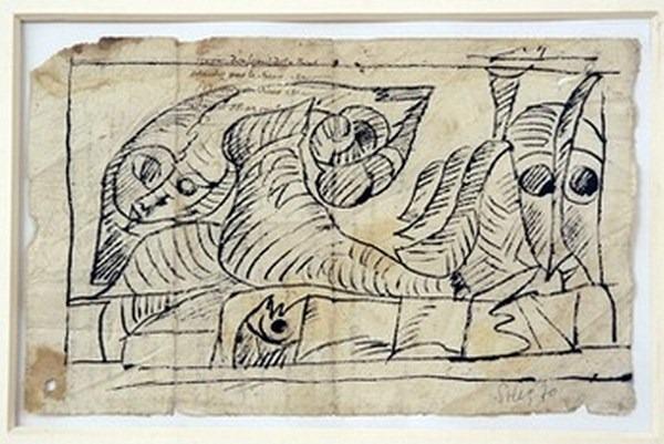 Silva Julio - Las novias - pluma de oca + papel anciano - 33cm x 25cm - 1969