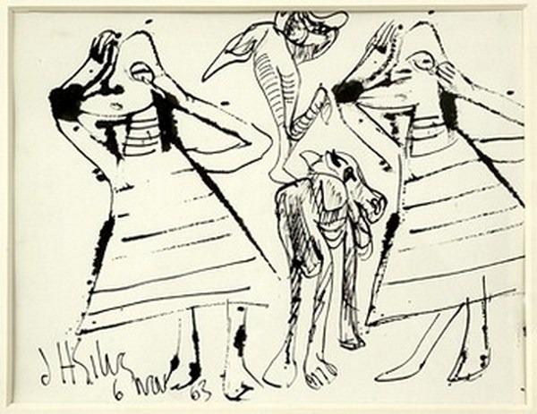 Silva Julio - Los gemelos - pluma de oca - 32cm x 25cm - 1963