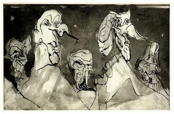 Silva Julio - Perfil de arte - tinta sobre papel - 67cm x 52cm - 1966