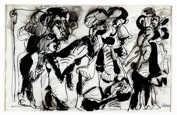 Silva Julio - Petit bruit avoisunant - tinta sobre papel - 67cm x 52cm - 1966
