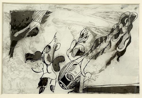 Silva Julio - Poroto Saltador- pluma de oca + pincel + papel anciano - 25cm x 38cm - 1967