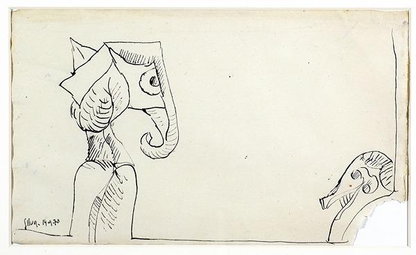 Silva Julio - Pour arrondir les angles - tinta sobre papel - 67cm x 52cm - 1970