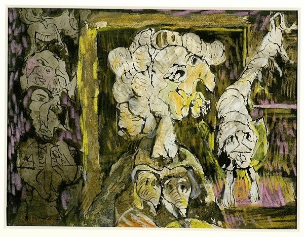 Silva Julio - Realzado- pluma de oca + lapiz color - 24cm x 31cm - 1966