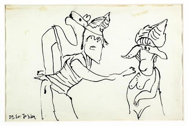Silva Julio - Se ruega no tocar - tinta sobre papel - 67cm x 52cm - 1970