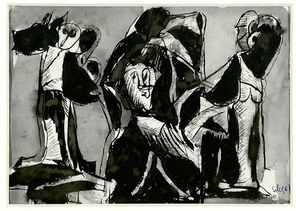 Silva Julio - Si fuera por mi - tinta sobre papel - 67cm x 52cm - 1967