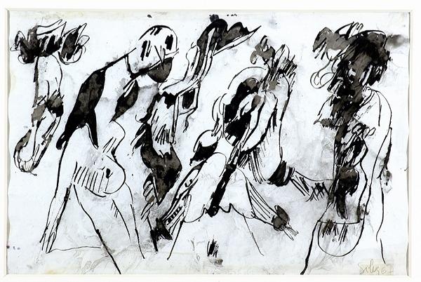 Silva Julio - Sin peleas - tinta sobre papel - 67cm x 52cm - 1967
