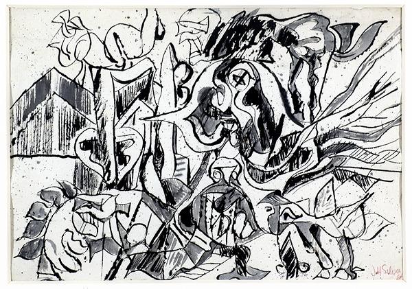 Silva Julio - Sobre los techos- pluma de oca + levis + papel anciano - 32cm x 23cm - 1968