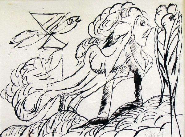 Silva Julio - Su cosa de plumas - tinta sobre papel - 67cm x 52cm con marco - 1969