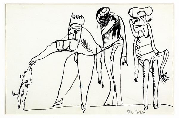 Silva Julio - Susucre - pluma de oca + papel anciano - 25cm x 38cm - 1970