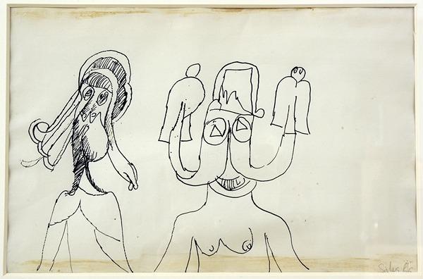 Silva Julio - Titiritero- pluma de oca + papel anciano - 38cm x 25cm - 1966
