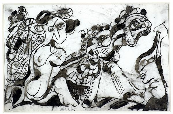Silva Julio - Todas las frutas afuera- pluma de oca + levis + papel anciano - 22cm x 33cm - 1967