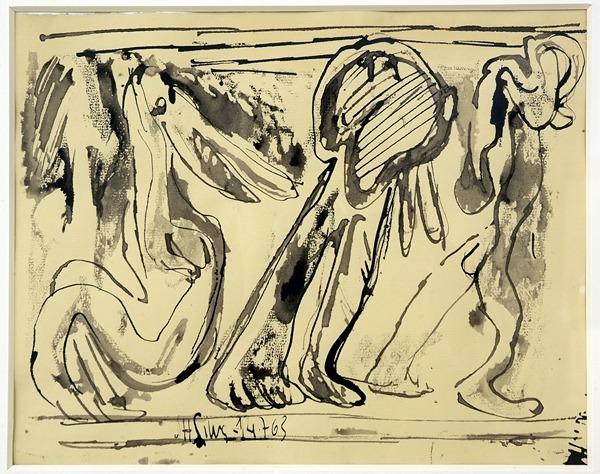 Silva Julio - Trois compers- pluma de oca + levis - 25cm x 32cm - 1963