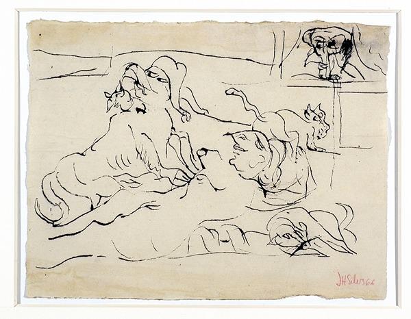 Silva Julio - Zoolatrie - tinta sobre papel - 67cm x 52cm - 1966