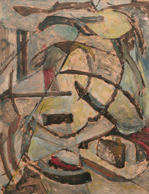 Composición, óleo s/ papel, 63 x 48 cm, 1954