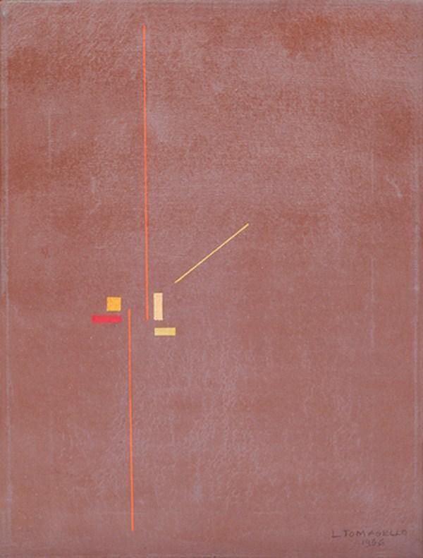 Figuras geométricas, esmalte s/ tela, 40 x 30 cm, 1956