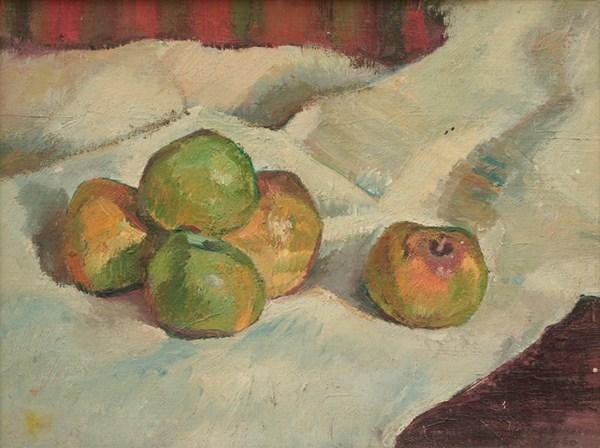 Manzanas, óleo s/cartón, 30 x 40 cm, 1950