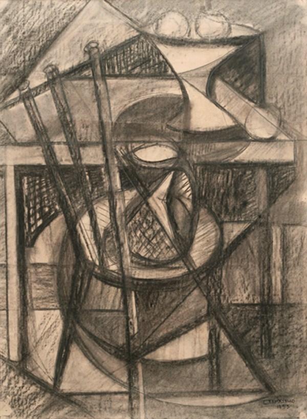 Naturaleza muerta, carbonilla s/ papel, 72 x 53 cm, 1953