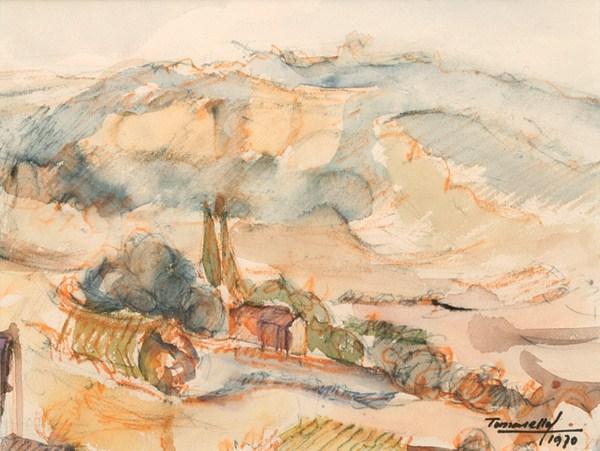 Paisaje, acuarela, 27 x 21 cm, 1970