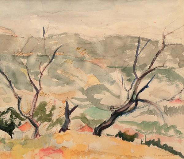 Paisaje, acuarela, 35 x 30 cm, 1971