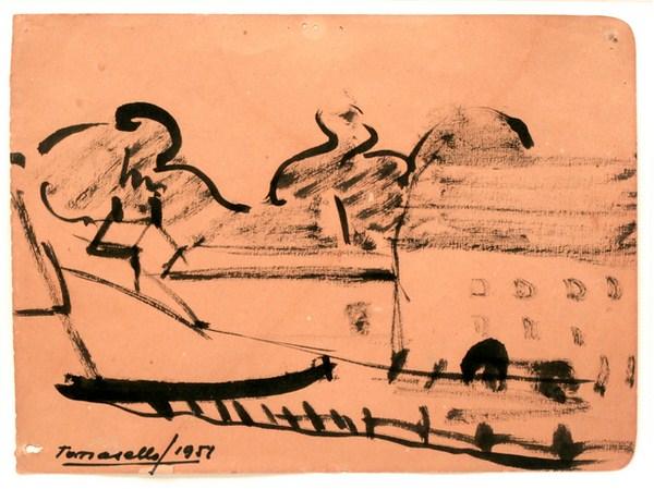 Paisaje, tinta, s/ papel, 23 x 17 cm, 1951
