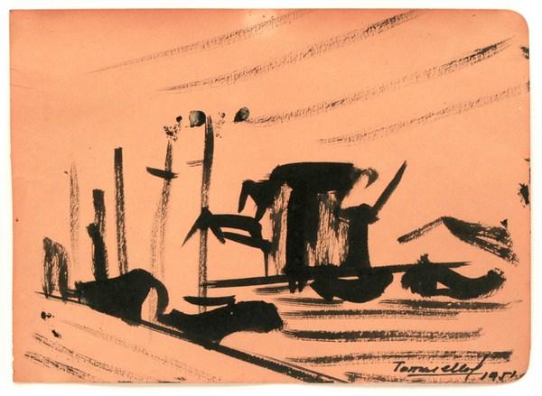 Paisaje, tinta s/ papel, 23 x 17 cm, 1951