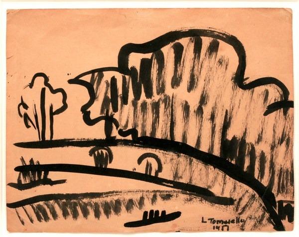 Paisaje, tinta s/ papel, 23 x 17 cm, 1957