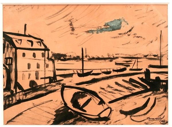 Paisaje, tinta s/ papel, 43 x 31 cm, 1951