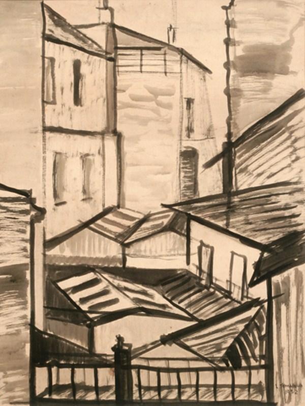 Techos de Paris, tinta s/ papel, 65 x 50 cm, 1952